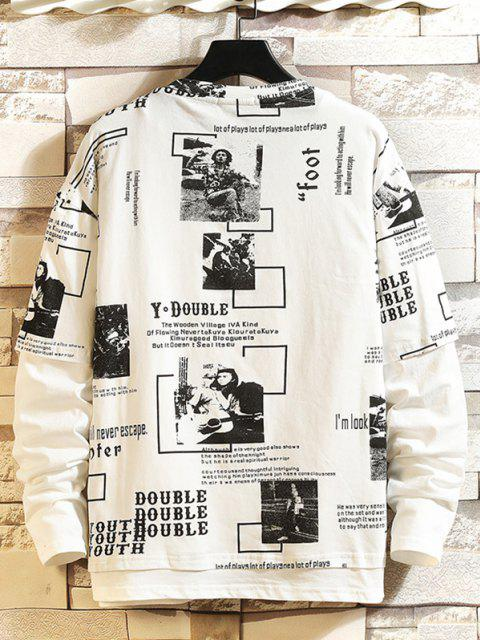 Character Letter Graphic Faux Twinset T-shirt - أبيض 2XL Mobile