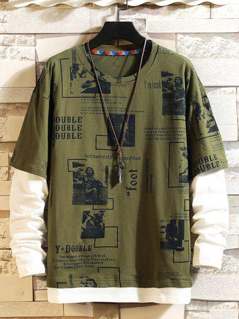 fashion Character Letter Graphic Faux Twinset T-shirt - ARMY GREEN XL Mobile