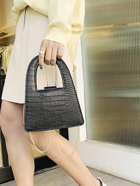 women's Textured Crossbody Chain Handbag - BLACK  Mobile