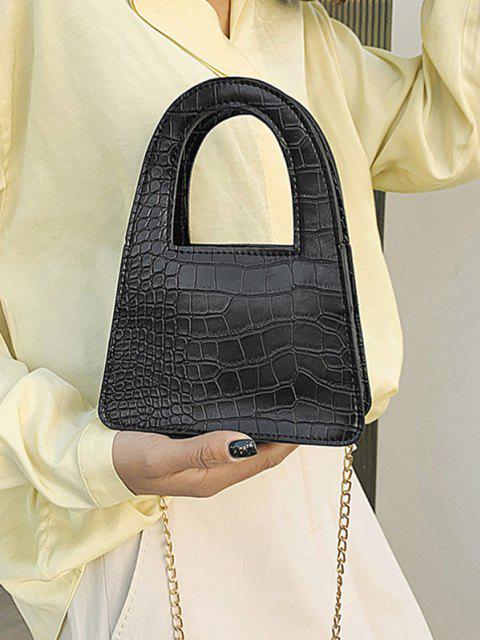 Textured Crossbody Chain Handbag - أسود  Mobile