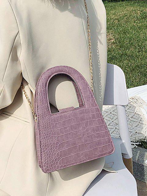 lady Textured Crossbody Chain Handbag - PALE VIOLET RED  Mobile