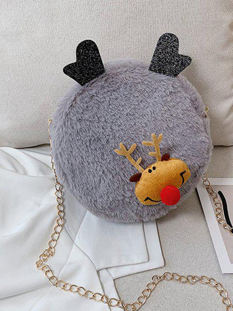 outfits Christmas Elk Plush Chain Canteen Bag - DARK GRAY  Mobile