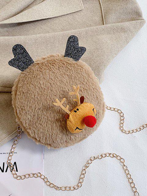 shop Christmas Elk Plush Chain Canteen Bag - LIGHT COFFEE  Mobile