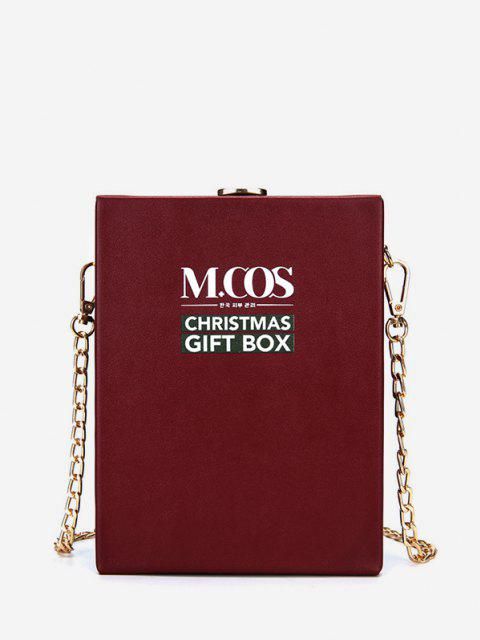 trendy Christmas Letters Pattern Box Bag - DEEP RED  Mobile