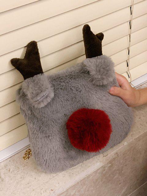 chic Square Elk Plush Chain Crossbody Bag - DARK GRAY  Mobile