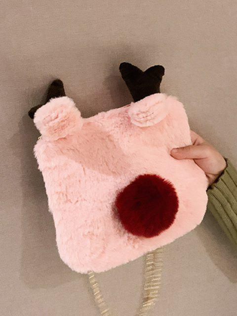 fancy Square Elk Plush Chain Crossbody Bag - LIGHT PINK  Mobile