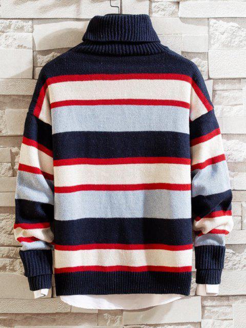 unique Color Blocking Striped Knit Turtleneck Sweater - DEEP BLUE M Mobile