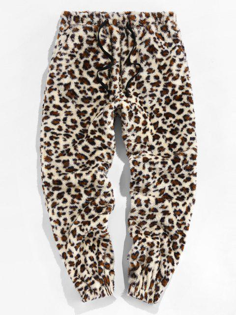 ZAFUL Leopardmuster Künstliche Pelz Flauschige Hose - Multi L Mobile