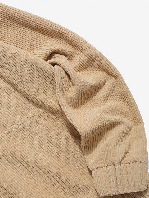 buy Half Button Solid Kangaroo Pocket Corduroy Hoodie - LIGHT YELLOW M Mobile