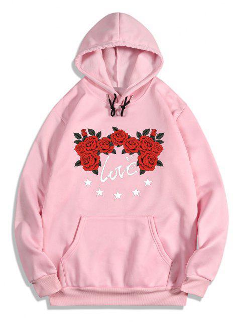 fancy Rose Flower Love Print Graphic Fleece Hoodie - PIG PINK M Mobile