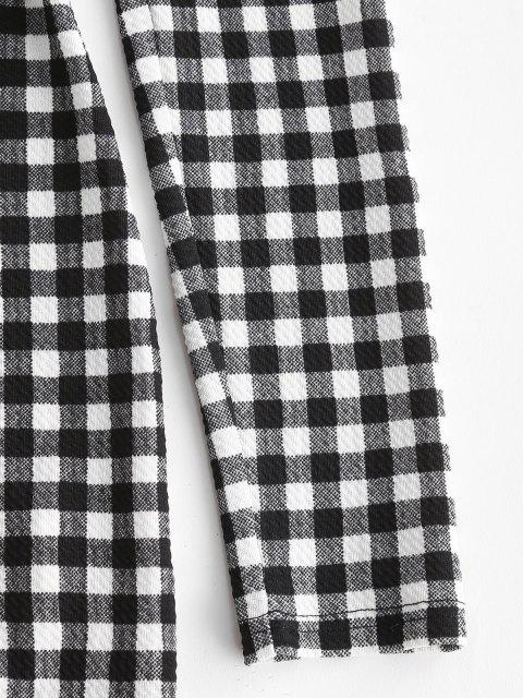 fashion ZAFUL Plaid Print Slit Front Bodycon Dress - BLACK S Mobile