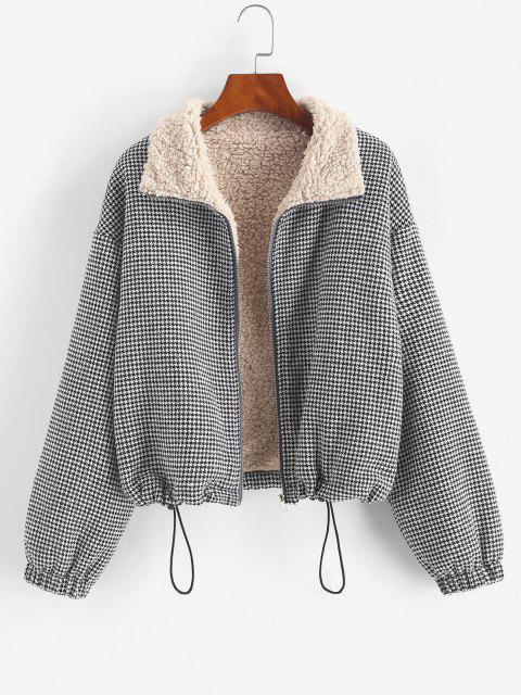 Zip Up Fleece Lined Plaid Houndstooth Jacket - أسود M Mobile