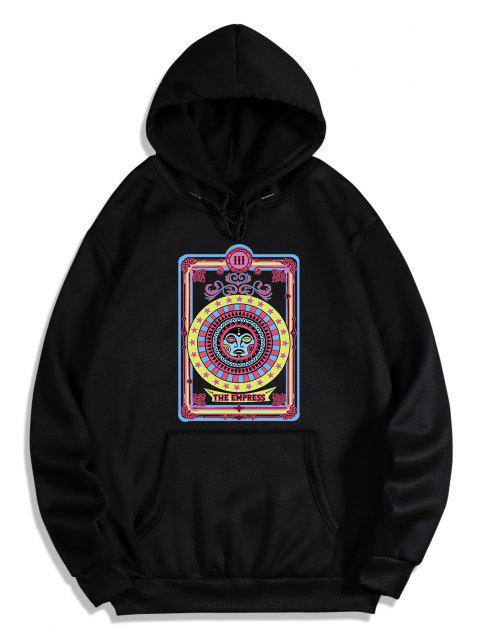 shop The Empress Card Pattern Fleece Hoodie - BLACK 2XL Mobile