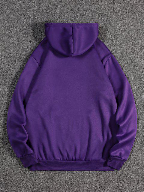 sale The Empress Card Pattern Fleece Hoodie - PURPLE IRIS L Mobile