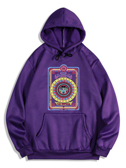 affordable The Empress Card Pattern Fleece Hoodie - PURPLE IRIS XL Mobile