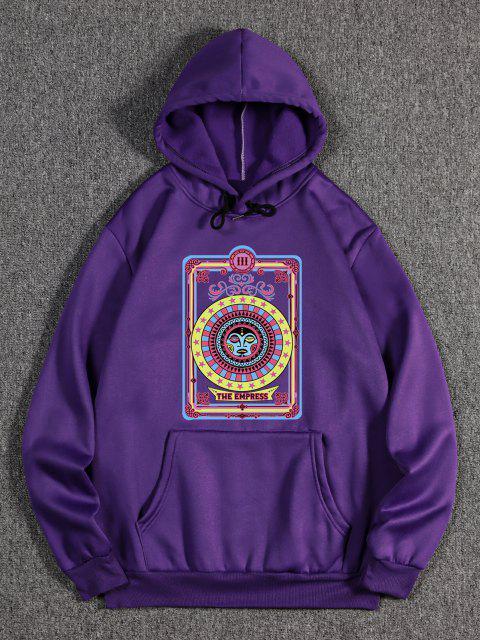 buy The Empress Card Pattern Fleece Hoodie - PURPLE IRIS 2XL Mobile
