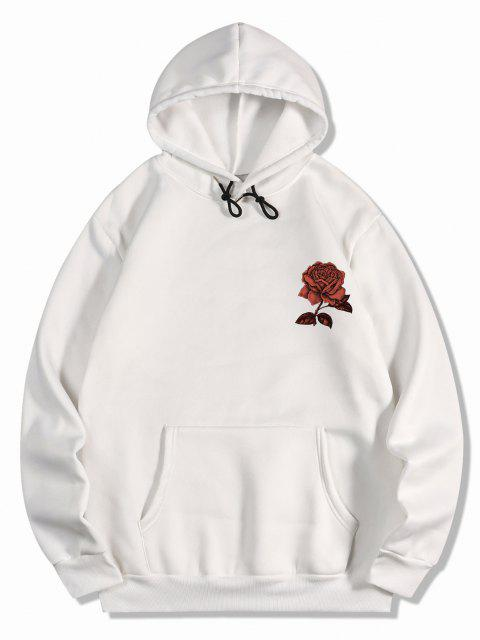 Vlies Rose Blumen Druck Hoodie - Weiß 2XL Mobile