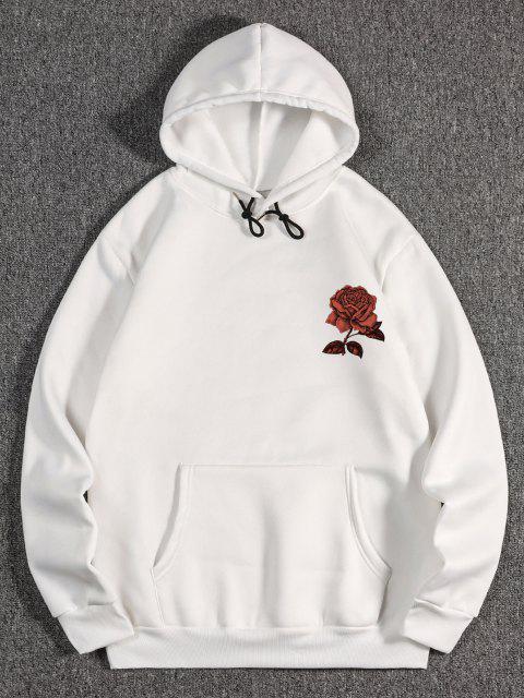 women's Fleece Rose Flower Print Hoodie - WHITE M Mobile