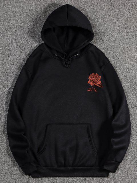 fancy Fleece Rose Flower Print Hoodie - BLACK 2XL Mobile