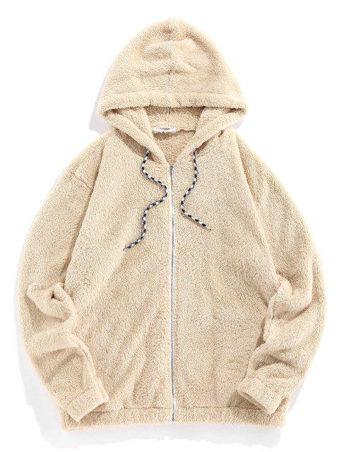 outfit Hooded Zip Up Faux Fur Fluffy Jacket - LIGHT YELLOW XL Mobile