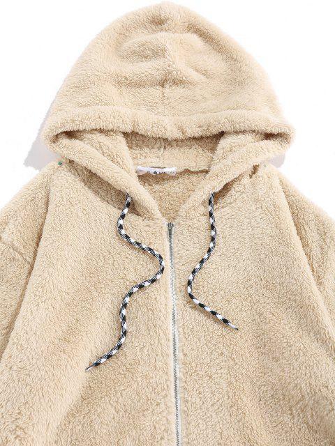 Veste à Capuche Zippée Fourrée en Fausse Fourrure - Jaune clair XL Mobile