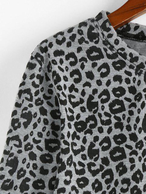 ZAFUL Tee Cortada Leopardo Impresso - Cinza claro M Mobile