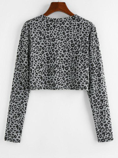 affordable ZAFUL Leopard Print Cropped Tee - LIGHT GRAY S Mobile