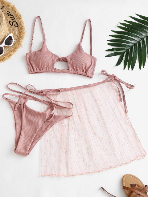 shop ZAFUL Lace Ribbed Criss Cross Cutout Three Piece String Bikini Swimwear - LIGHT PINK M Mobile