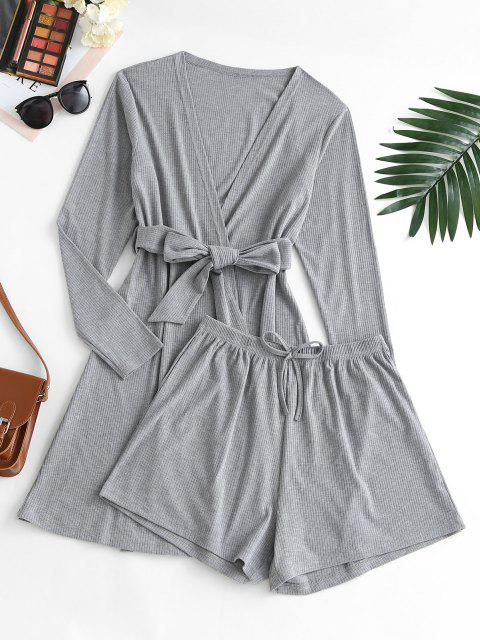 shops Ribbed Bowknot Belted Cardigan Shorts Pajama Set - DARK GRAY S Mobile