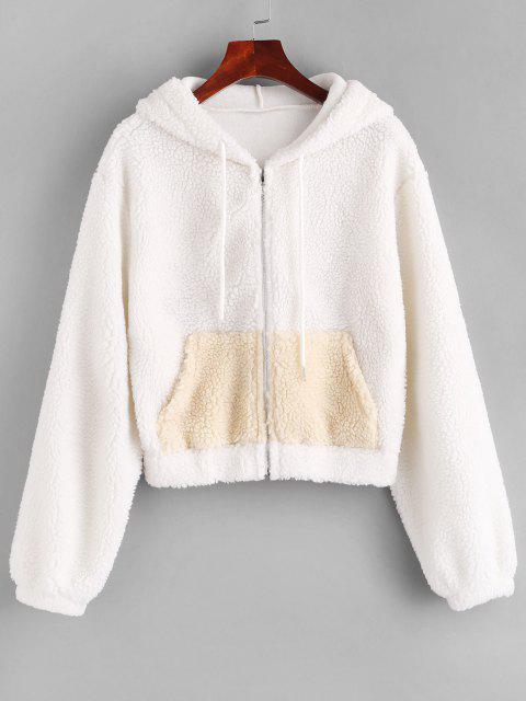 ZAFUL Hooded Zip Up Pocket Teddy Jacket - أبيض L Mobile