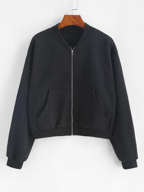 ZAFUL Front Pocket Zip Up Fleece Jacket - أسود XL Mobile