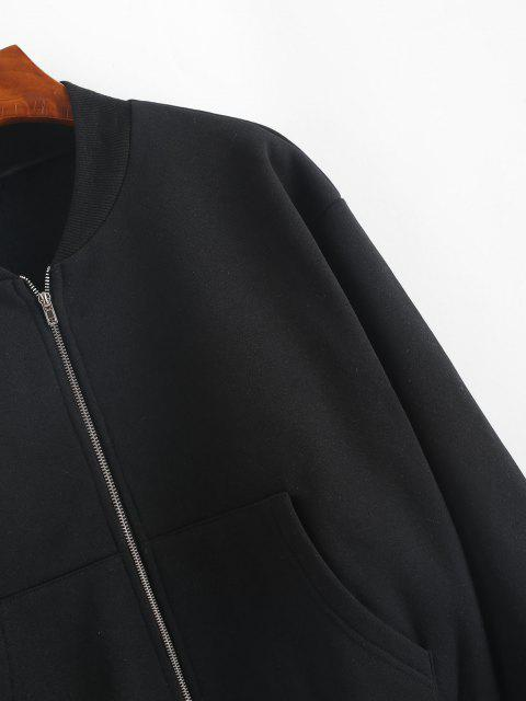 ZAFUL Veste Zippée avec Poche en Avant en Laine - Noir L Mobile