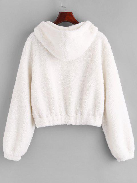 shop ZAFUL Hooded Zip Up Pocket Teddy Jacket - WHITE M Mobile