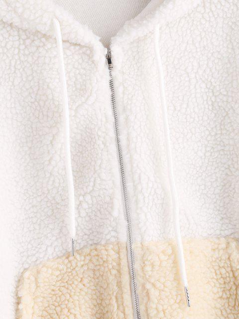 fashion ZAFUL Hooded Zip Up Pocket Teddy Jacket - WHITE S Mobile
