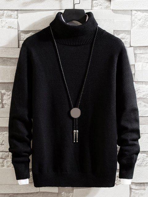 best Turtleneck Solid Pullover Knit Sweater - BLACK S Mobile