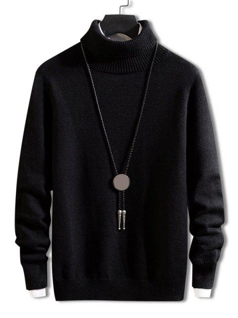outfits Turtleneck Solid Pullover Knit Sweater - BLACK M Mobile