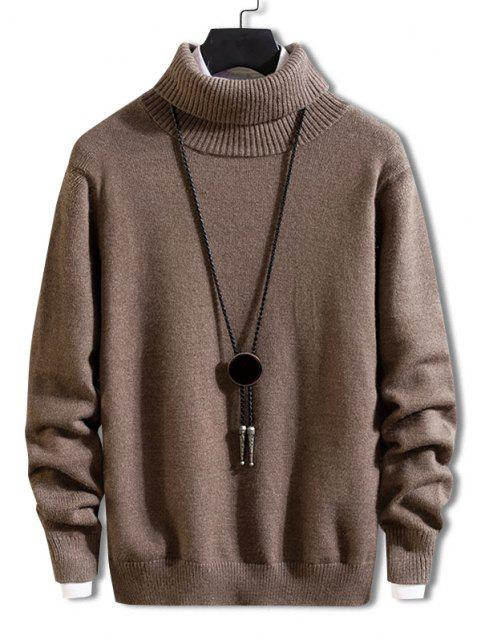trendy Turtleneck Solid Pullover Knit Sweater - DEEP COFFEE S Mobile