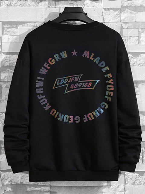 shop Letter Graphic Pullover SweatShirt - BLACK M Mobile