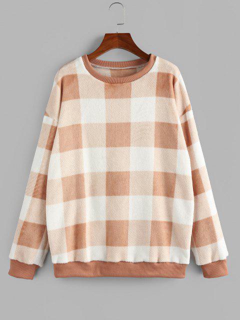 online ZAFUL Fleece Plaid Drop Shoulder Oversized Sweatshirt - LIGHT ORANGE M Mobile