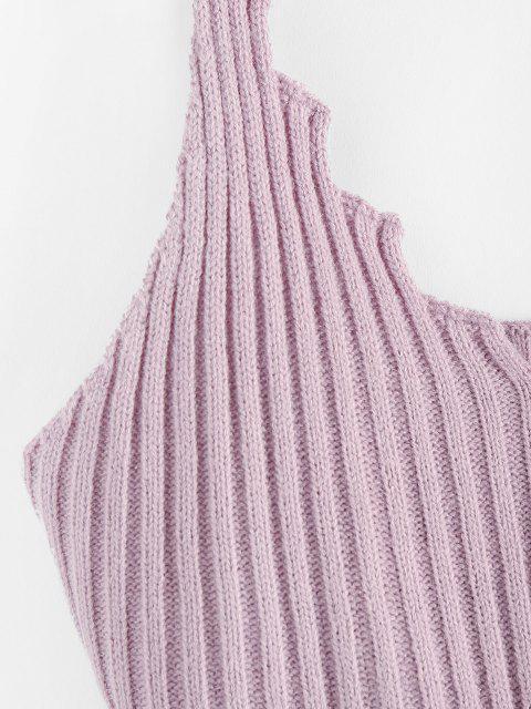 ZAFUL Camisola de Alças com Nervuras Cortado - Luz roxa L Mobile