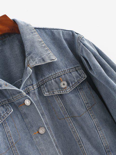 ladies Flap Detail Button Up Jean Jacket - BLUE M Mobile