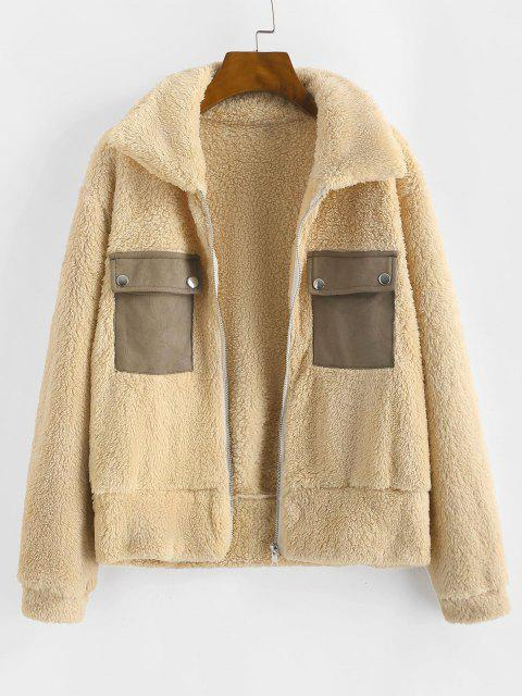Faux Fur Flap Pocket Fluffy Zip Jacket - أصفر فاتح S Mobile