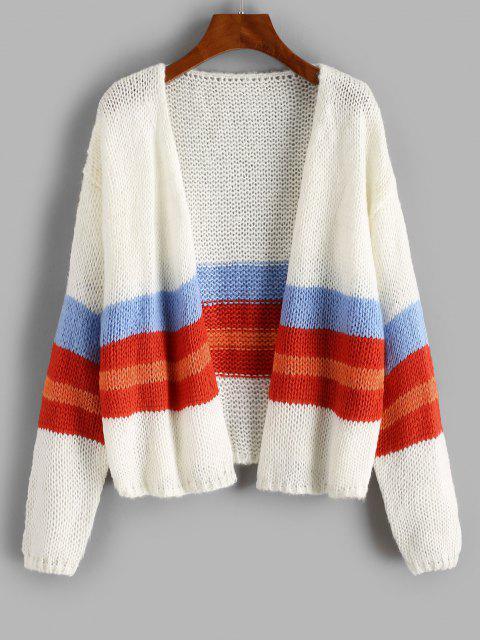 Drop Shoulder Colorblock Open Front Cardigan - أبيض حجم واحد Mobile