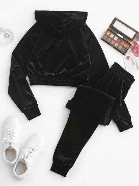 sale Zip Up Velvet Pocket Two Piece Pants Set - BLACK M Mobile