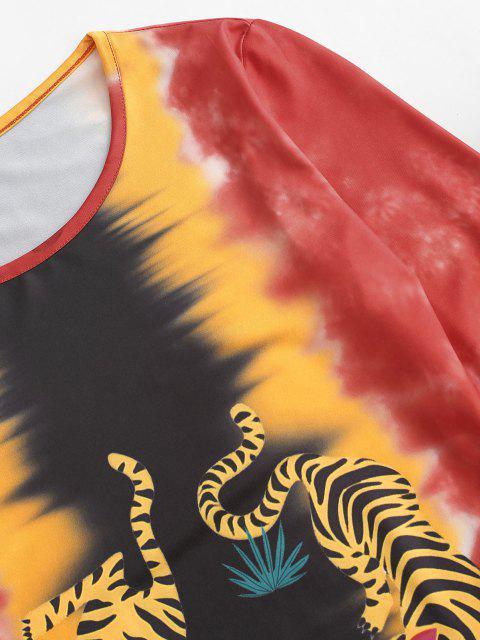 Mini Abito di Tie-Dye di Tigre con Maniche Lunghe di ZAFUL - Rosso XL Mobile