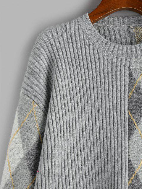 ZAFUL Argyle Gerippter Hängender Schulter Pullover - Hellgrau S Mobile