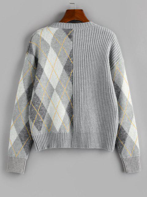 best ZAFUL Argyle Ribbed Drop Shoulder Sweater - LIGHT GRAY L Mobile