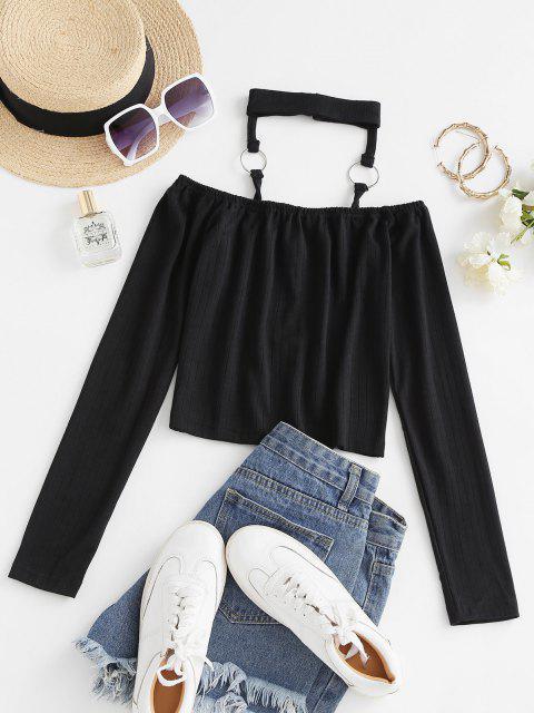 trendy Choker O Ring Cutout T-shirt - BLACK S Mobile