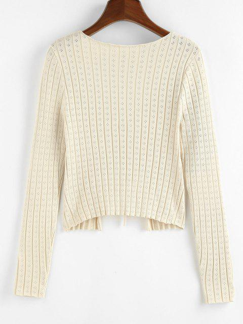 chic ZAFUL Tie Front Pointelle Knit Ribbed Cardigan - LIGHT YELLOW M Mobile