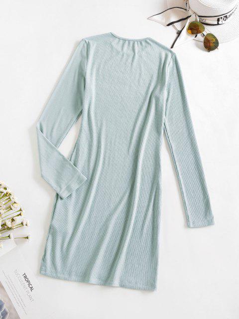 shop ZAFUL Rib Knit Mini Bodycon Dress - MINT GREEN M Mobile